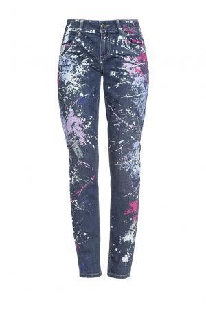 Зауженные джинсы с красочным принтом PZ-189226 Seven. Цвет: синий
