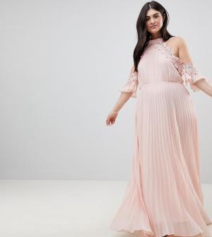 Truly You Плиссированное свободное платье с открытыми плечами Plus. Цвет: оранжевый
