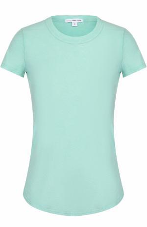 Хлопковая футболка с круглым вырезом James Perse. Цвет: светло-зеленый