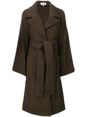 Пальто в полоску Isa Arfen. Цвет: коричневый