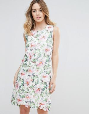 Uttam Boutique Кружевное платье с цветочным принтом. Цвет: мульти