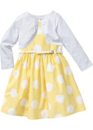 Платье + ремень болеро (3 изд.) (нежно-желтый/белый в горошек) bonprix. Цвет: нежно-желтый/белый в горошек