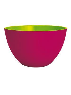 Миска средняя ДВУЦВЕТЬЕ Zak!designs. Цвет: малиновый, салатовый