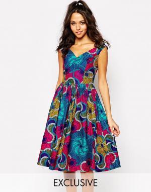 Sika Приталенное платье с пышной юбкой X ASOS. Цвет: crazy fun