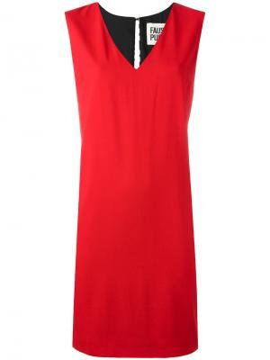 Платье с V-образным вырезом Fausto Puglisi. Цвет: красный