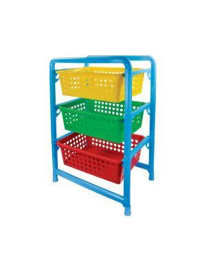 Этажерка для игрушек 3-х секц. Альтернатива. Цвет: голубой, желтый, зеленый, красный