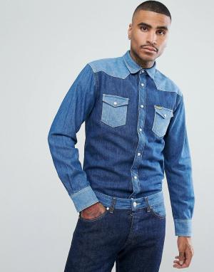 Wrangler Джинсовая рубашка в стиле вестерн Peter Max. Цвет: синий