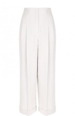 Укороченные хлопковые брюки с защипами Loro Piana. Цвет: светло-серый