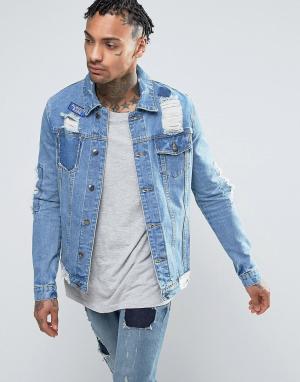 Always Rare Джинсовая куртка с нашивками. Цвет: синий