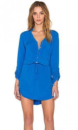 Цельнокройное мини платье Michael Stars. Цвет: синий