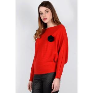 Пуловер с круглым вырезом из тонкого трикотажа MOLLY BRACKEN. Цвет: красный