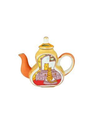Сувенир-чайник Кошка у зеркала Elan Gallery. Цвет: желтый, красный, оранжевый