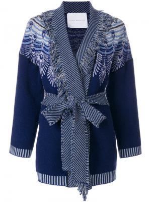 Кардиган-пальто с узором и поясом Giada Benincasa. Цвет: синий