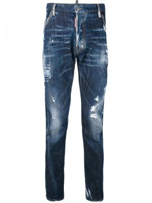 Выбеленные рваные джинсы Dsquared2. Цвет: синий