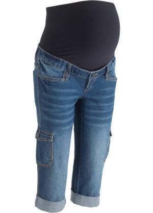Джинсы-капри в стиле карго для беременных (синий «потертый») bonprix. Цвет: синий «потертый»