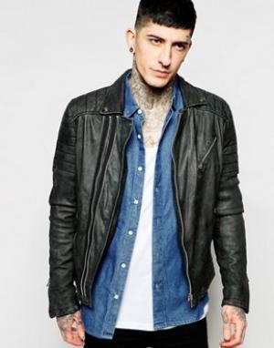 Goosecraft Байкерская кожаная куртка. Цвет: черный