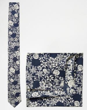 ASOS Темно-синие галстук и платок для нагрудного кармана с цветочным принто. Цвет: темно-синий