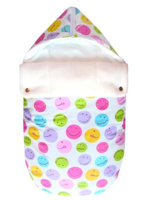 Конверт на выписку JustCute Смайл (лето) СуперМаМкет. Цвет: белый, бледно-розовый