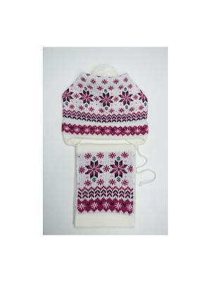 Шапка, шарф Tricotier. Цвет: белый, фуксия
