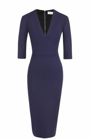 Платье-футляр с V-образным вырезом и укороченным рукавом Victoria Beckham. Цвет: темно-синий