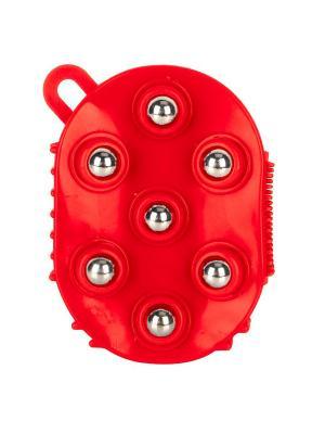 Массажная варежка с шариками Массаж-7 RUGES. Цвет: красный