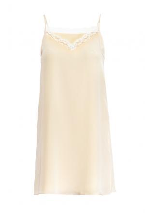 Платье-комбинация из шелка 159242 Mari Axel. Цвет: бежевый
