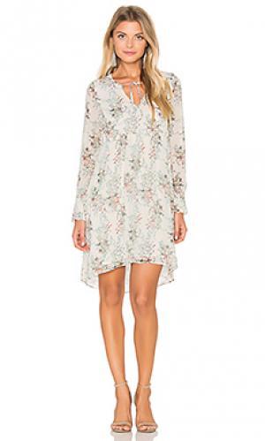 Цветочное цельнокройное платье с длинным рукавом IKKS Paris. Цвет: белый
