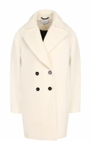 Двубортное шерстяное пальто с контрастными пуговицами Carven. Цвет: белый