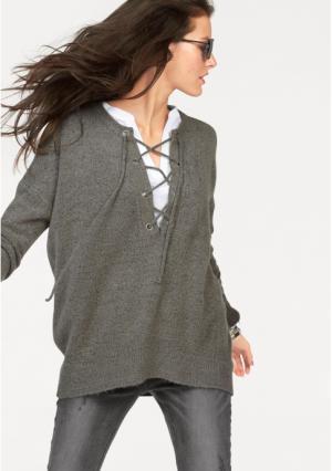 Пуловер Aniston. Цвет: серый, черный