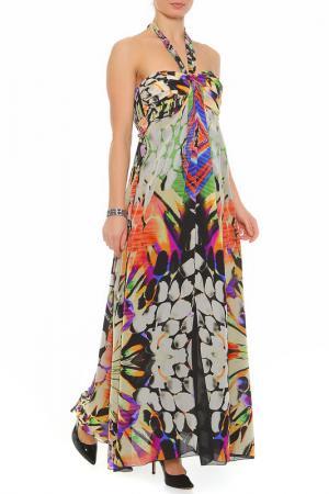 Платье XS MILANO. Цвет: белый, зеленый, оранжевый