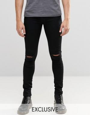 Brooklyn Supply Co. Черные джинсы с разрезами на коленях Co Hunter. Цвет: черный