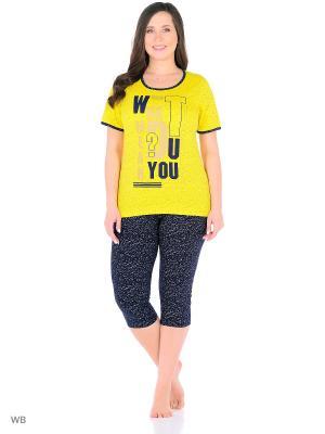 Домашний костюм (футболка, бриджи) HomeLike 936/желтый/темно-синий