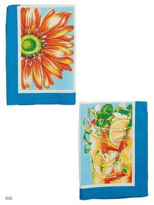 Набор полотенец вафельных кухонных Римейн. Цвет: синий, голубой