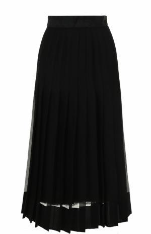 Шелковая юбка в складку с широким поясом Dolce & Gabbana. Цвет: черный