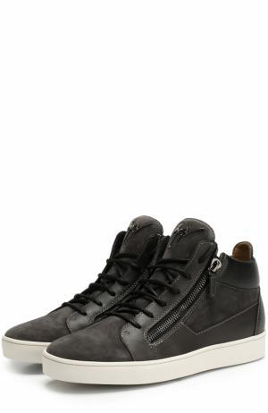 Высокие кожаные кеды на шнуровке Giuseppe Zanotti Design. Цвет: черный