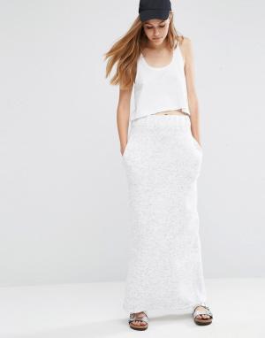 ASOS Прямая трикотажная юбка макси. Цвет: кремовый