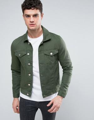 River Island Темно-зеленая джинсовая куртка. Цвет: зеленый