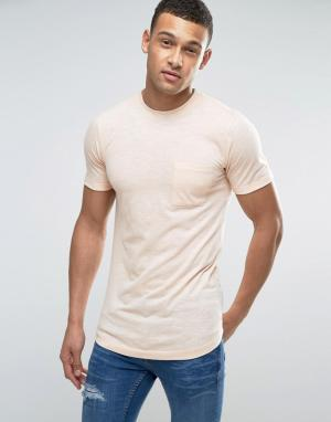 Another Influence Длинная футболка с тонкую полоску. Цвет: оранжевый