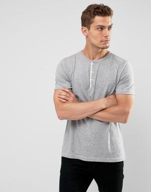 Abercrombie & Fitch Серая меланжевая футболка хенли узкого кроя. Цвет: серый