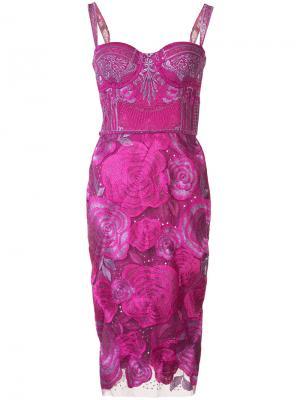 Платье с цветочным принтом Marchesa Notte. Цвет: розовый и фиолетовый
