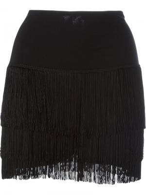 Короткая юбка с бахромой Norma Kamali. Цвет: чёрный