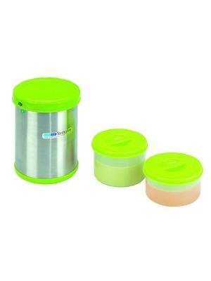Термос 1100 мл с двумя резервуарами 300 и 400 Bebe Due. Цвет: светло-зеленый, серебристый