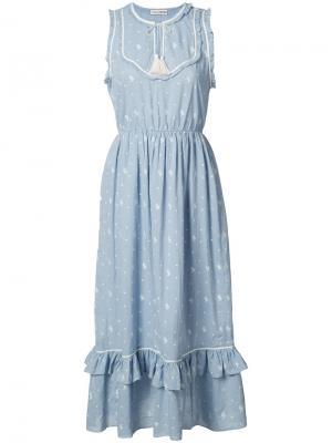 Платье-миди с кисточками Ulla Johnson. Цвет: синий