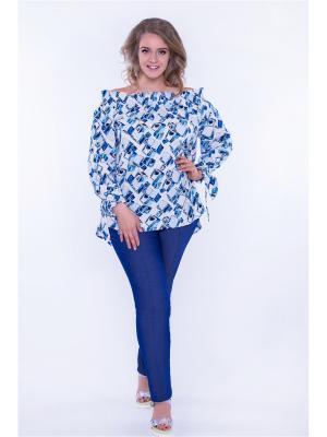 Блузка Аловера Авантюра. Цвет: синий, белый