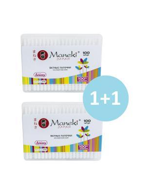 Набор ватных палочек Lovely KN1125 сбелым пластиковым стиком, 100 шт/упак х 2 упак Maneki. Цвет: белый