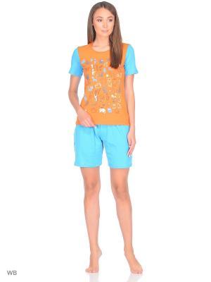 Пижама erteks. Цвет: голубой, оранжевый