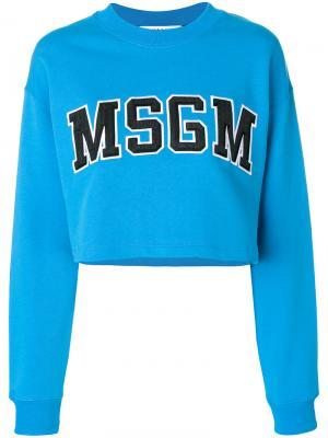 Укороченная толстовка с логотипом MSGM. Цвет: синий