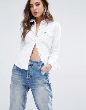 Hollister Рубашка из ткани шамбре с закатанными рукавами Western. Цвет: белый