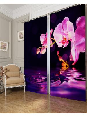Фотошторы Орхидея над водой, Блэкаут Сирень. Цвет: фиолетовый, розовый, темно-синий
