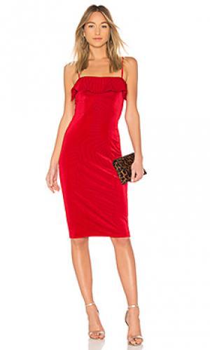 Бархатное платье миди с воланом chantel NBD. Цвет: красный